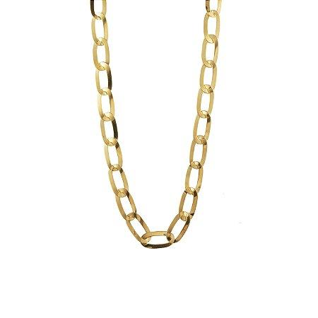 Corrente em ouro amarelo 18k elo groumet alongada, de 60cm. Peso 13,1g.