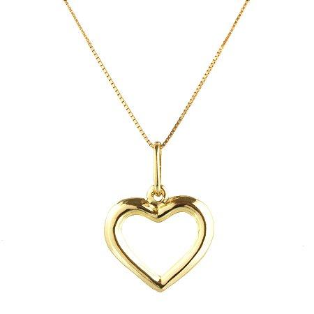 Pingente coração liso vazado em au 18k amarelo, grande, liso, vazado, sem pedra PC 1.79