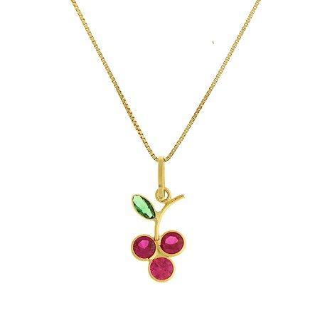Pingente cacho de uva em au 18k amarelo, liso, redondo, com 3 zircônias vermelhas e uma verde ovaPC 0.99