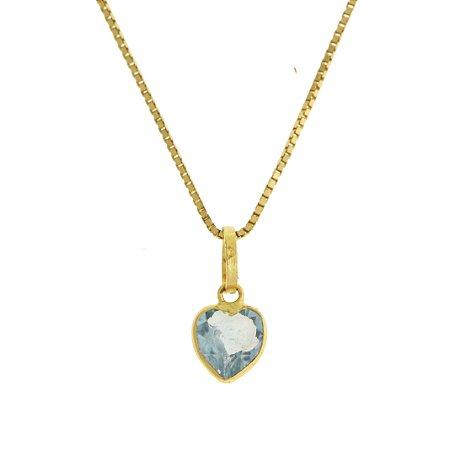 Pingente ponto de luz mini em au 18k amarelo, liso, zircônia branca ou azul em forma de coração PC 0.60