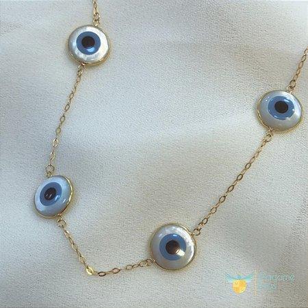 Pulseira de olho gregoem ouro amarelo 18k PC 5.37