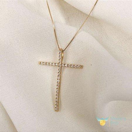 Pingente cruz cravejado de zirconias em ouro amarelo 18k PC 4.12