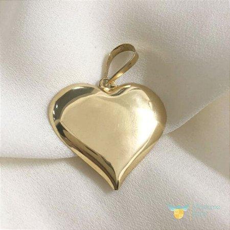 Pingente coração liso em ouro amarelo 18k PC 5.22