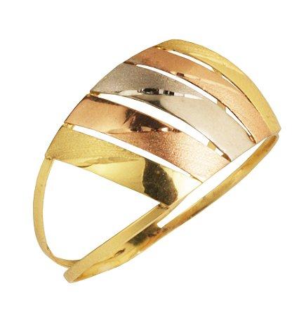 Anel tricolor com aro duplo em ouro amarelo 18k PC 2.62