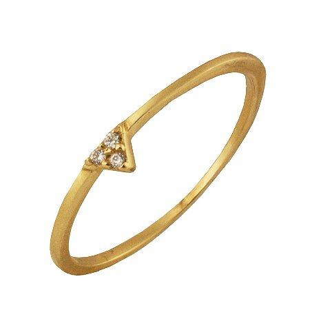 Anel com 3 zirconias em ouro amarelo 18k PC 274
