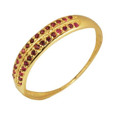 Anel meia aliança com zirconias rosa em ouro amarelo 18k PC 4.31