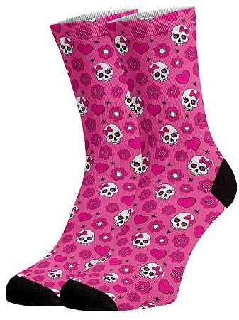 Caveirinhas Pink - Meias Fun em DryFio