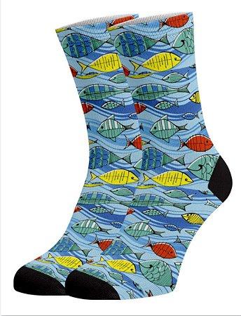 Peixe Meias divertidas e coloridas em DryFio