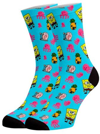 Mini Bob Esponja meias divertidas e coloridas