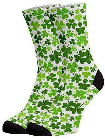 Trevo meias divertidas e coloridas