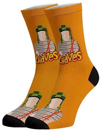 Chaves laranja meias divertidas