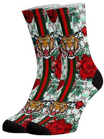 Tigre flores meias divertidas e coloridas
