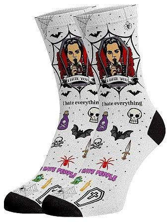 Wandinha Addams meias divertidas e coloridas