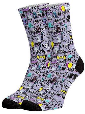 Gato roxo meias divertidas e coloridas