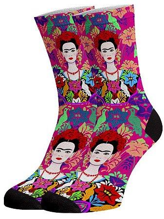 Frida e Flores meias divertidas e coloridas