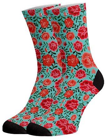Flores meias divertidas e coloridas