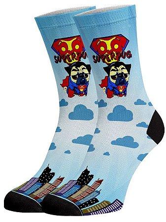 Super Dog Pug meias divertidas e coloridas