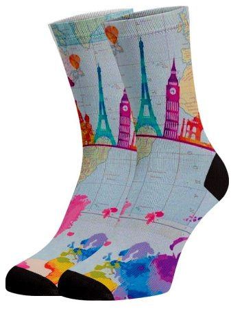 Mapa Mundi meias coloridas