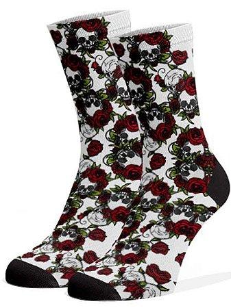 Meias Fun - Caveira branca e rosas