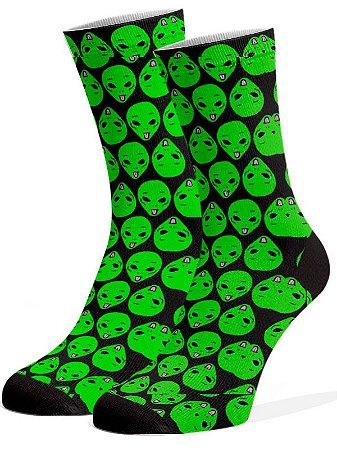 ET preto e verde  Meias Divertidas e Coloridas