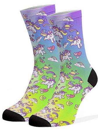 Unicórnio meias divertidas e coloridas