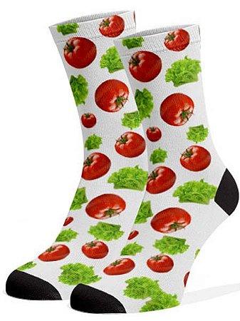 Tomate e alface meias divertidas e coloridas
