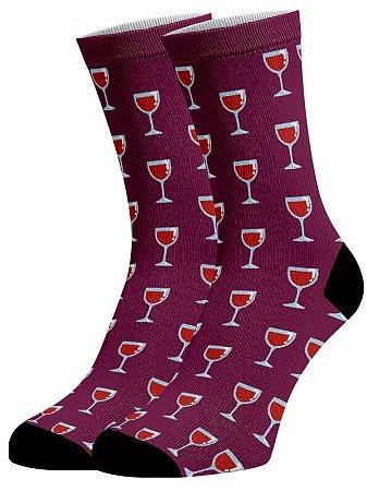 Meia Divertida Colorida - Vinho Taças
