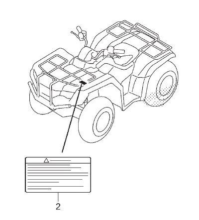Adesivo de Alerta Bagageiro dianteiro - Honda Fourtrax 420 2008 à 2019