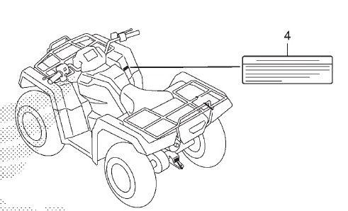 Adesivo de Alerta Informação Freio - Honda Fourtrax 420 2008 à 2019