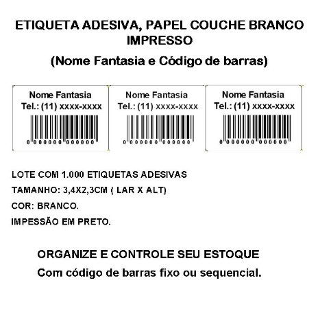 Etiquetas Adesiva Personalizada Impressas Código de Barras ou Sequencial - lote com 1.000 Etiquetas