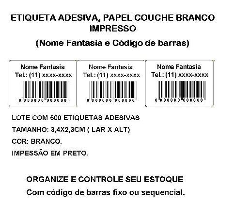 Etiquetas Adesiva Personalizada Impressas Código de Barras ou Sequencial - lote com 500 Etiquetas