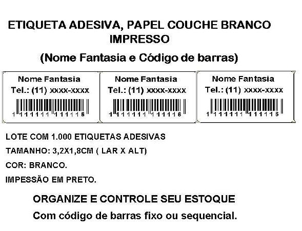 Etiquetas Adesiva Personalizada Impressas Código de Barras ou Sequencial - Com 1.000 Etiquetas