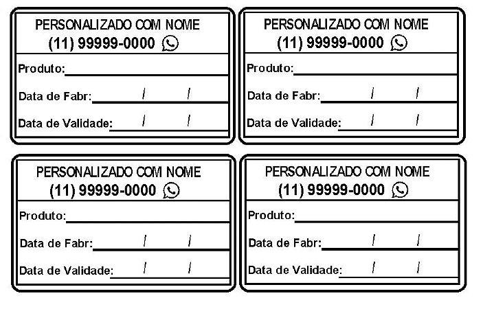 Etiqueta Personalizada Alimentos Validade, Fabricação, Anv. Congelados