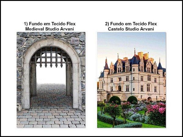 """Fundos """"Medieval e Castelo"""" Estudio Arvani (1,50 x 2,10 metros cada peça)"""