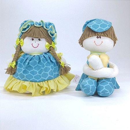 Casal de Bonecos Azul Tiffany Turquesa