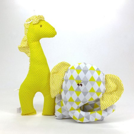 Naninhas: Elefante Amarelo e Girafa, Kit 02 Peças