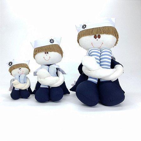 Kit 03 Peças: Bonecos Marinheiro Pequeno, Médio E Grande