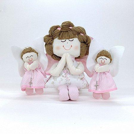 Kit Batizado Menina: 02 Anjinhas De Decoração + 20 Anjinhos Lembrança Rosa