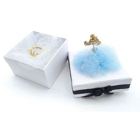 Anel Infantil Princesa - Prata Banhado a Ouro 18K - Regulável - Aureca