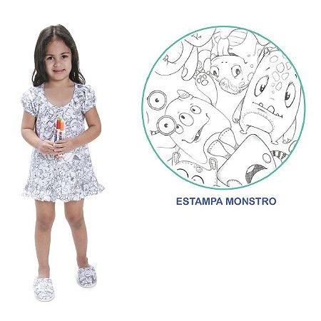 Camisola de pintar Feminino Verão com manga boneca e estampa Monstro