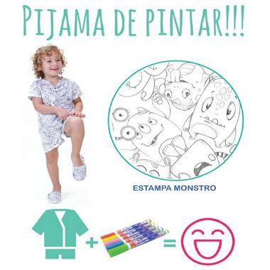 Pijama de pintar Masculino Verão com decote V e estampa Monstro