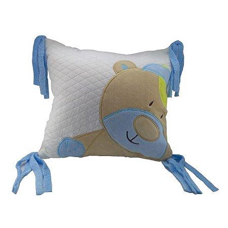 Almofada com aplique Urso Azul - Zip Toys