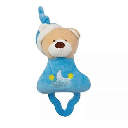 Mordedor Chocalho Ursinho Azul