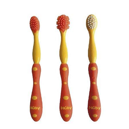 Kit de cuidado oral com sistema de 3 estágios Nûby Laranja