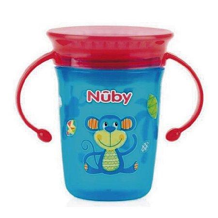 Copo treinamento 360 – Nuby – Azul e Vermelho - Macaquinho – 240 ml – Nuby