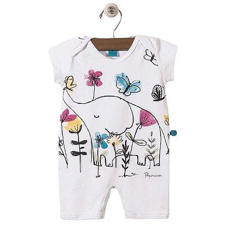 Pijama macacão malha strech - estampa elefante - manga curta