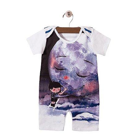 Pijama macacão malha strech - estampa Lua - manga curta