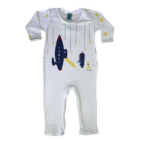 Pijama macacão em malha stretch branca - estampa foguete - manga longa