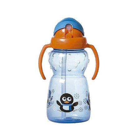 Copo com canudo de silicone e alça dupla Funny - Pinguim - 350 ml - Girotondo Baby