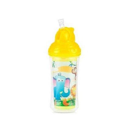 Copo Térmico com Canudo de Silicone e Trava - Zoo - 270 ml - Nuby